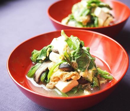 菊菜と豆腐の卵とじ