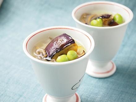 大和丸なすの冷たいスープ 白味噌風味
