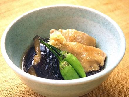 秋茄子と大和肉鶏の治部煮風