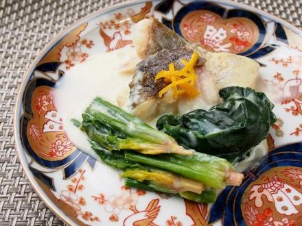 大和寒熟ほうれん草と鱈の豆乳煮