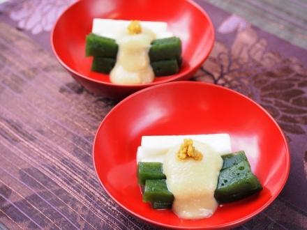 ほうれん草こんにゃくと長芋の酢味噌添え 橘こしょうの風味